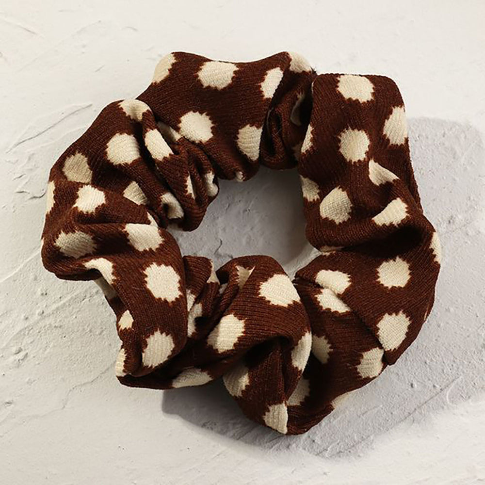 Giana Spotted Scrunchie In Brown