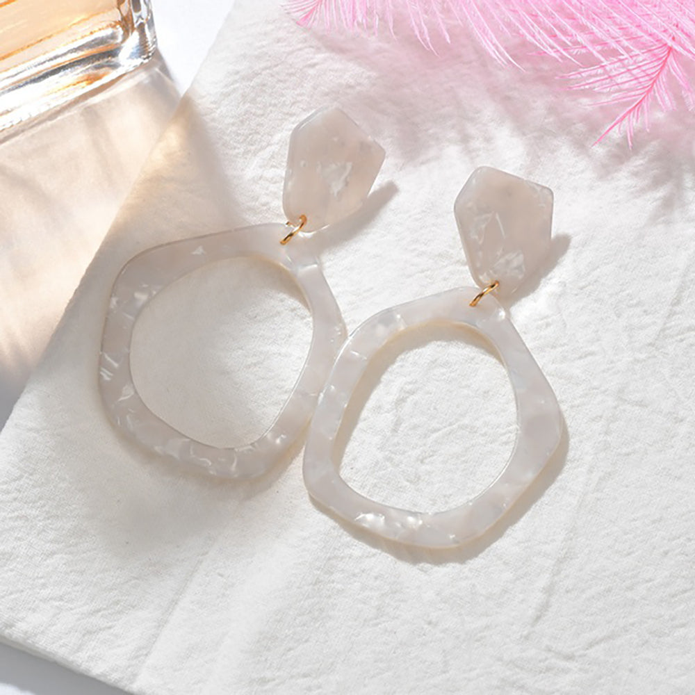 Lilly Shimmer Drop Earrings In White