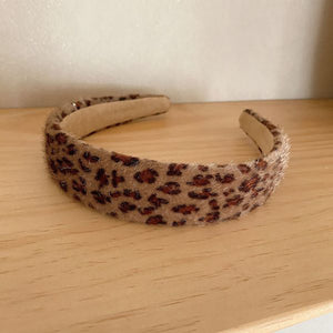 Corinne Textured Leopard Print Headband In Dark Brown