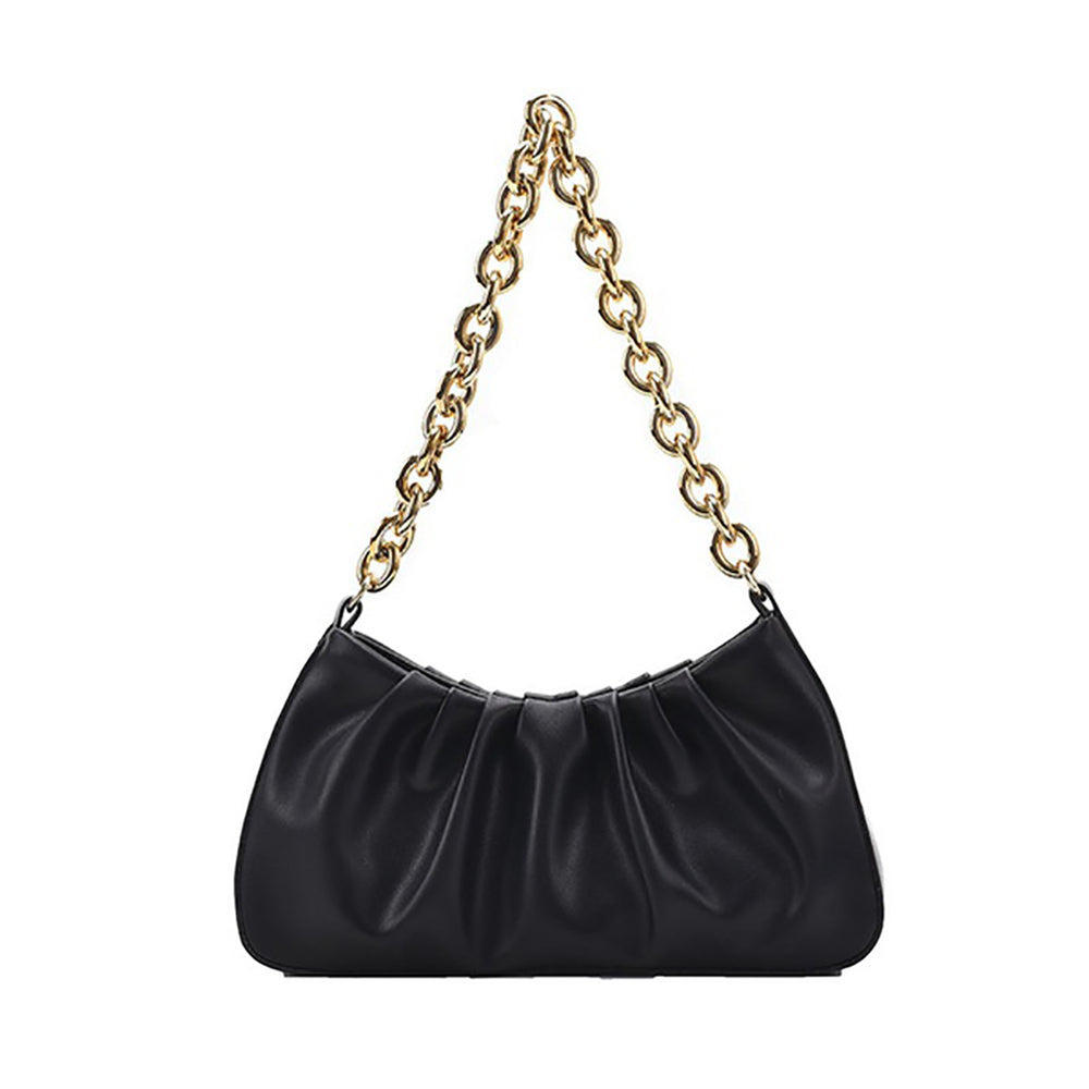 Lia Ruffle Chain Bag In Black