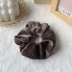 Cailey Velvet Scrunchie In Brown