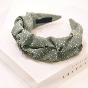 Miah Polka Dot Ruched Headband In Green