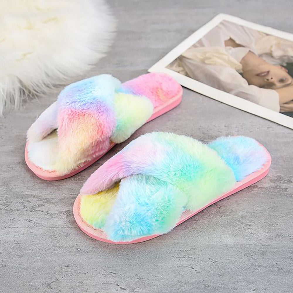 Cara Cross Slippers In Rainbow