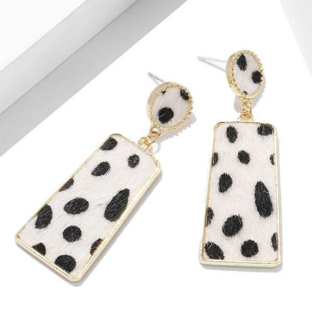 Blair Geometic Earrings In White Leopard Print