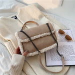 Alessia Fur Trim Bag In Sand