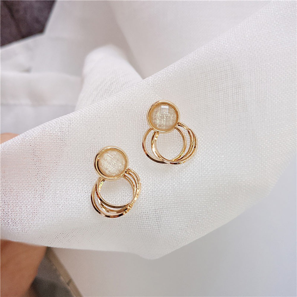 Bria Opal Hoop Earrings In Gold