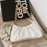 Lia Ruffle Chain Bag In White