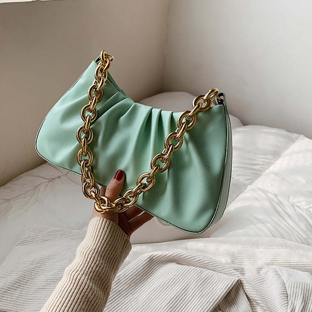 Lia Ruffle Chain Bag In Mint Green