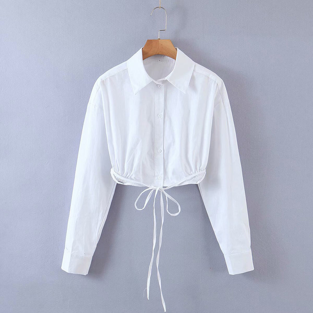 Sophie Cropped Tie Shirt In White
