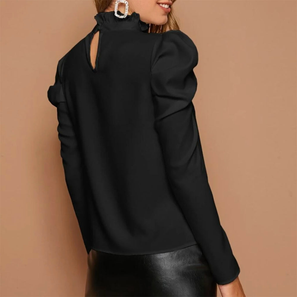 Carlotta Puff Sleeve Blouse In Black