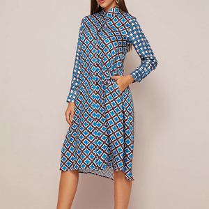 Dayana Printed Dress In Blue