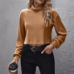 Ember Cropped Roll Neck Jumper In Sand