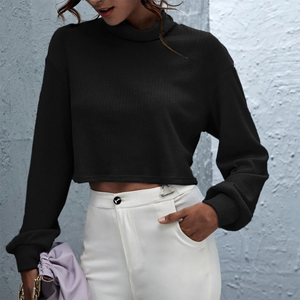 Ember Cropped Roll Neck Jumper In Black