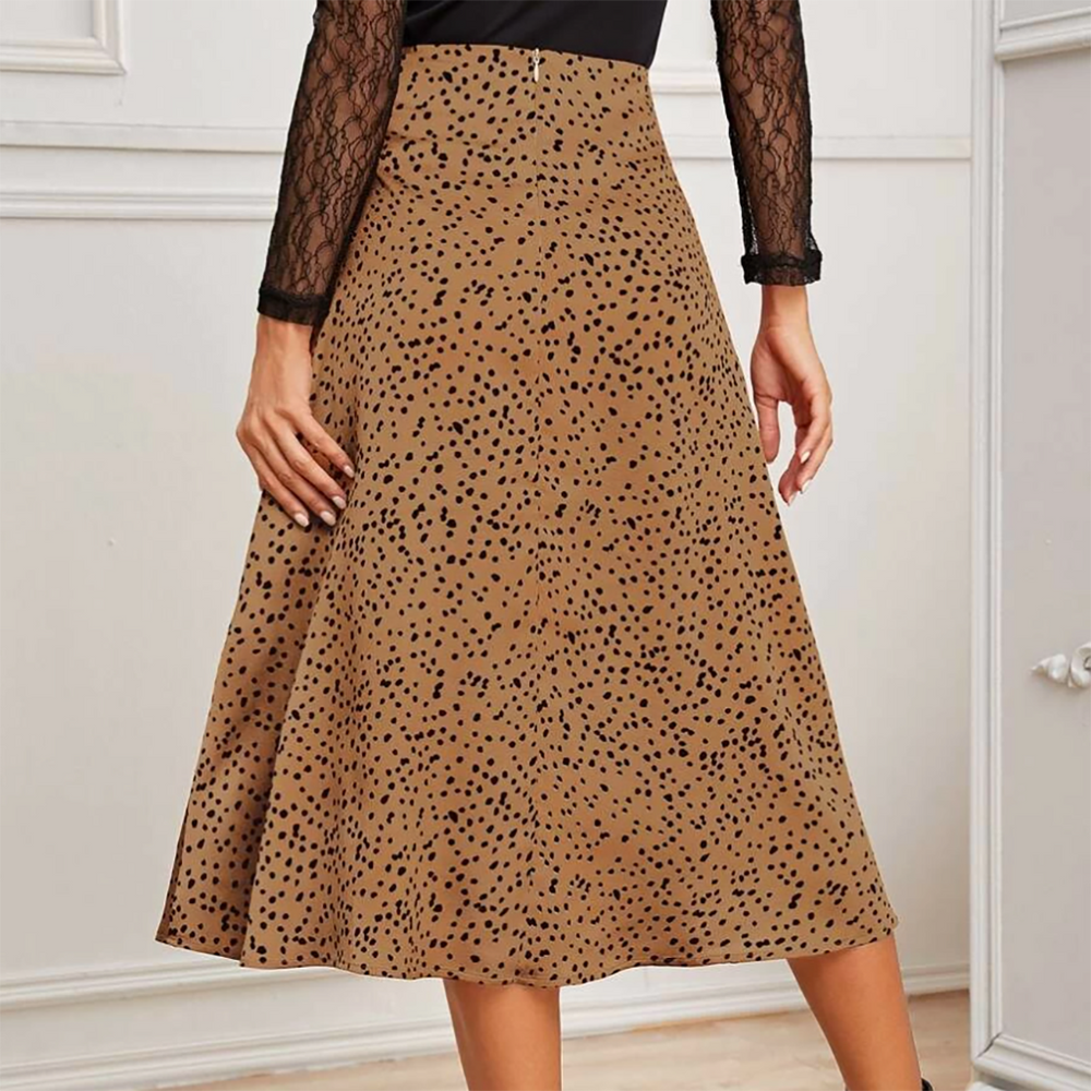 Quinn Silky Dalmatian Skirt In Tan