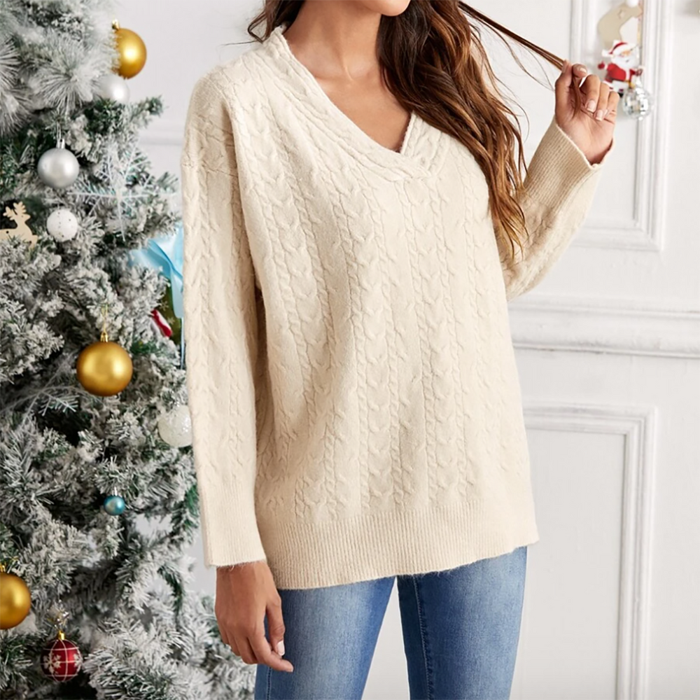 Alice Cable Knit Jumper In Beige