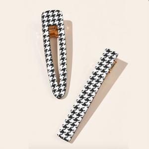 Jenna Houndstooth Hair Clips