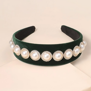 Luna Embellished Pearl Headband In Emerald