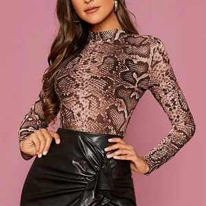 Holly Sheer Snake Print Polo Top In Brown