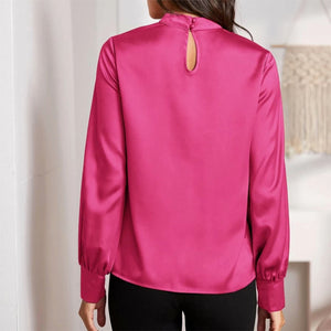 Delilah Satin Blouse In Bright Pink