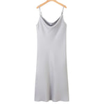 Kay Satin Slip Dress In Silver