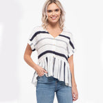 Brielle Striped Button Down Top