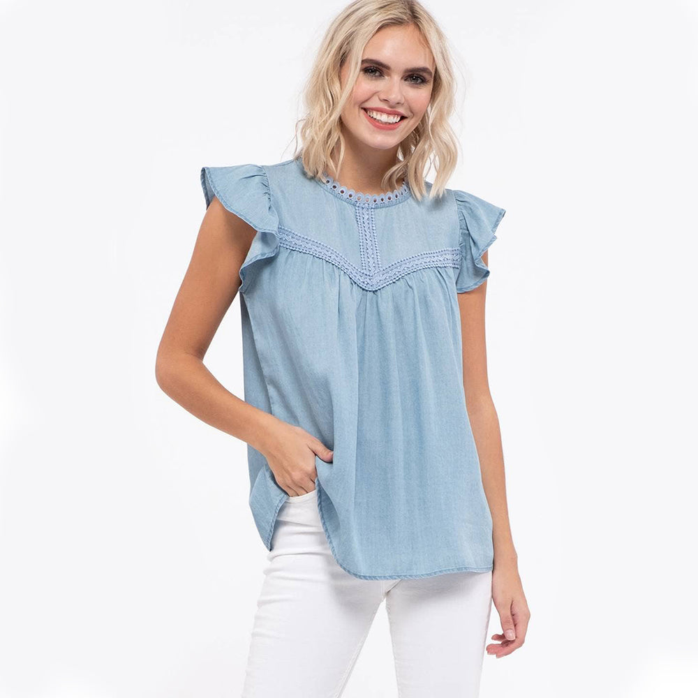 Tessa Flutter Sleeve Soft Denim Top