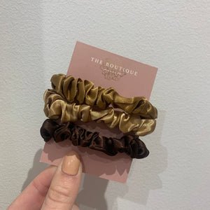 Betty Satin Scrunchies Set In Champagne Golds