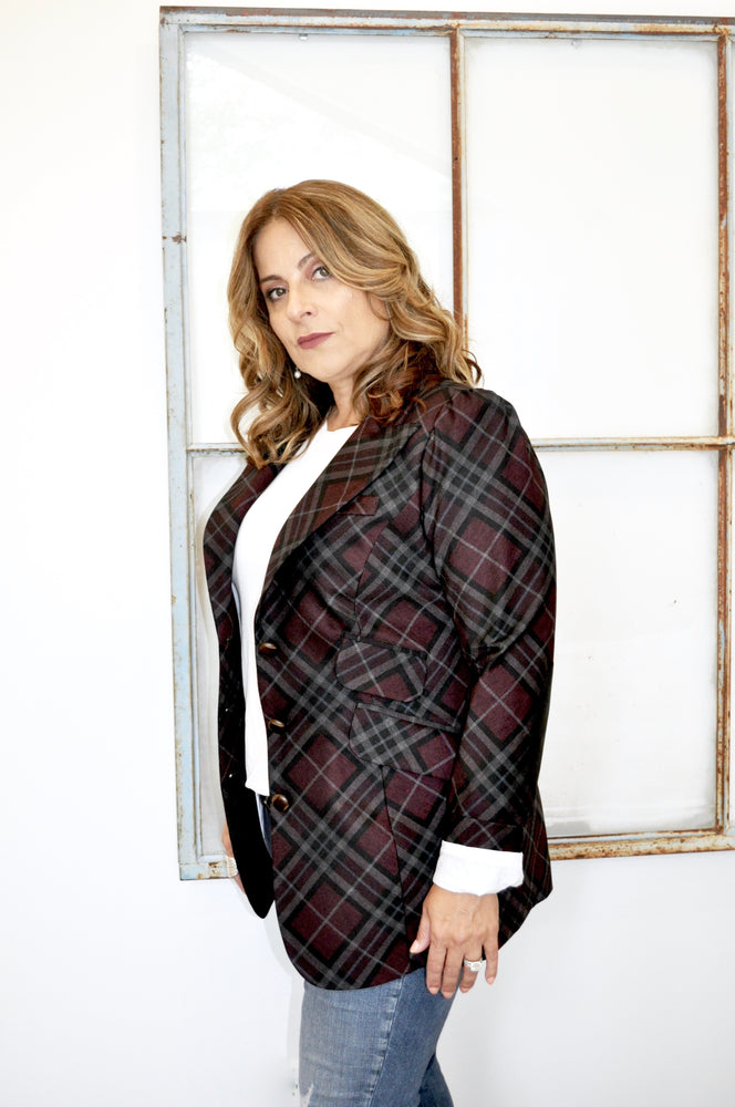 Oxblood Plaid Blazer