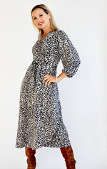 Grey Leopard Print Wrap Dress