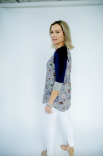 navy top with floral pattern and 3/4 sleeves