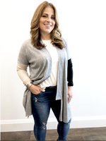 Heather Grey Side Slit Cardigan