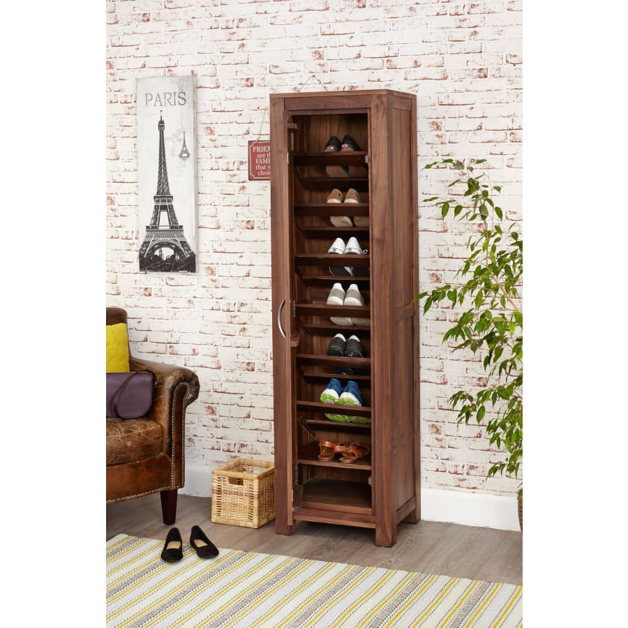 CWC20E Cupboards Baumhaus - Mayan Walnut Tall Shoe Cupboard