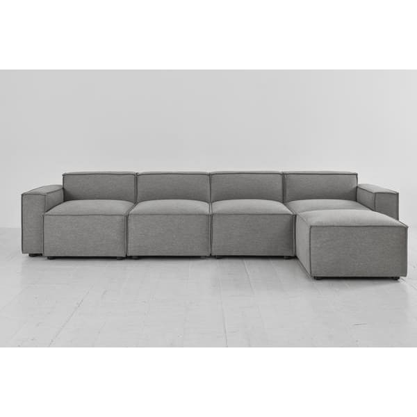 Model 03 Linen Modular 4 Seater Right Chaise - Shadow Sofas