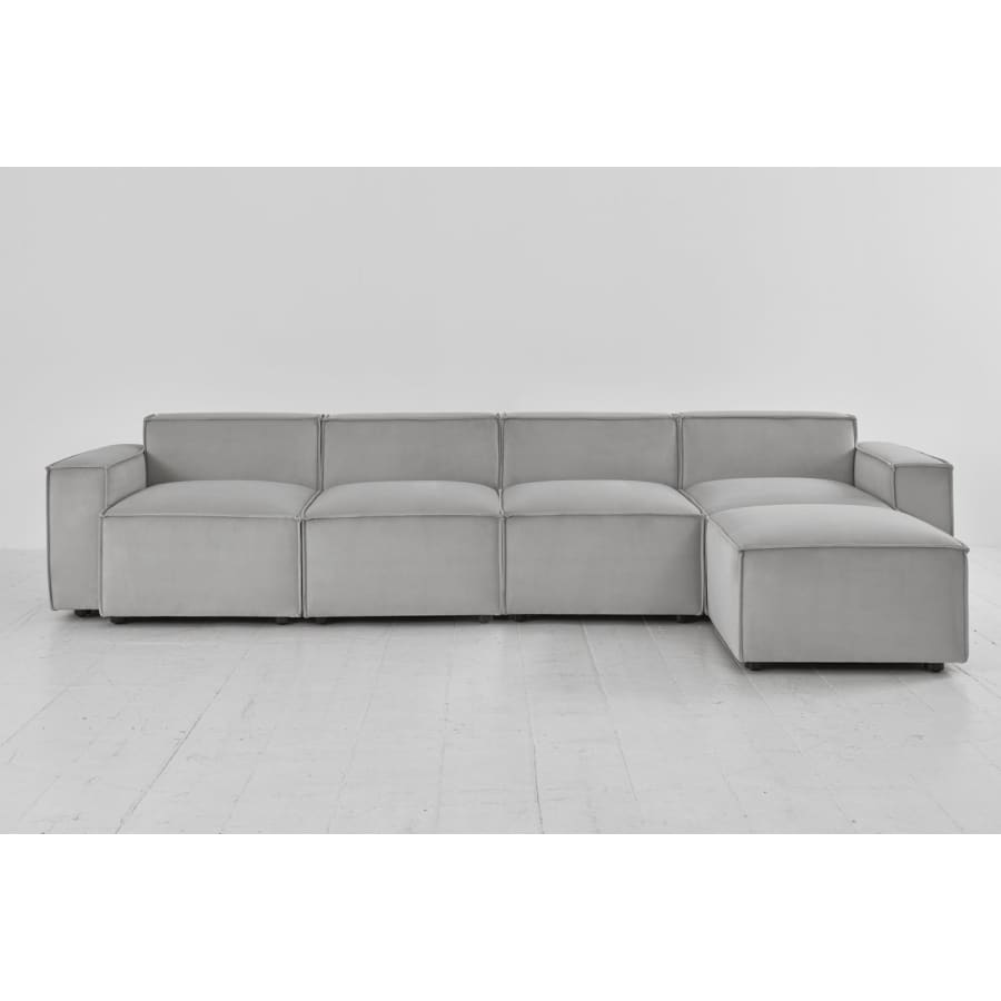 Model 03 Velvet Modular 4 Seater Right Chaise - Light Grey