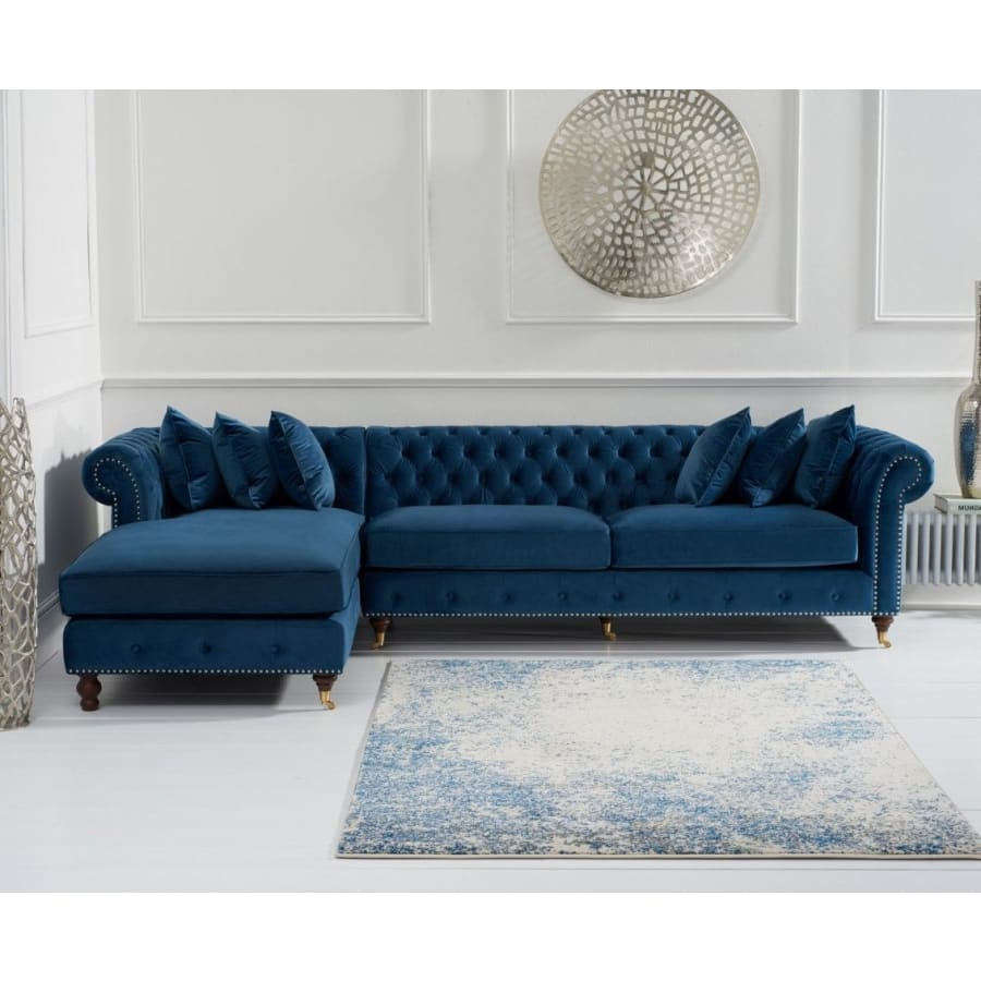 PT32324 Sofas Mark Harris Furniture - Fiona Blue Velvet Left