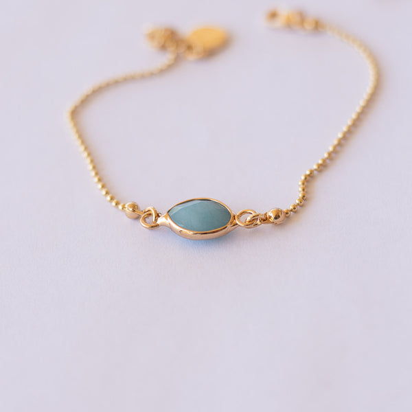 Delicate Gold Bead with Blue Stone Bracelet