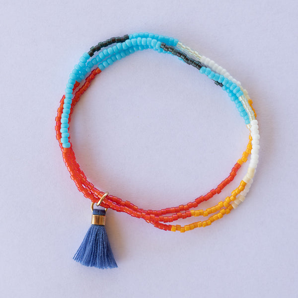 Miyuki Glass Bead Stretch Bracelet Stack with Tassel