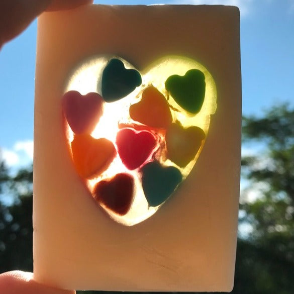 Confetti Heart Soap with added buttermilk, calendula, honey and oatmeal extract and Strawberry scent