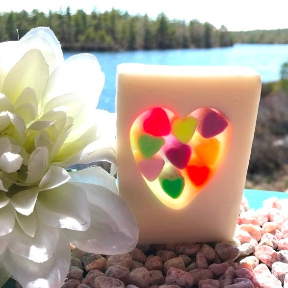 Confetti Heart Soap with added buttermilk, calendula, honey and oatmeal extract