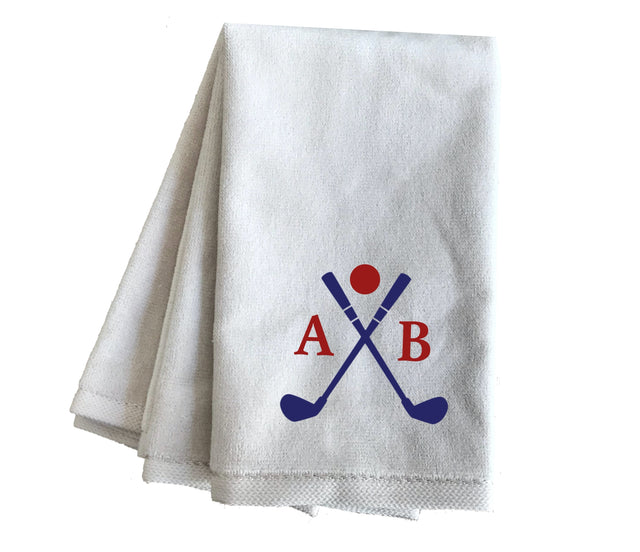 Personalized Custom Monogrammed Embroidered Golf Bag Towels, White Cheap Wholesale Fingertip Towels