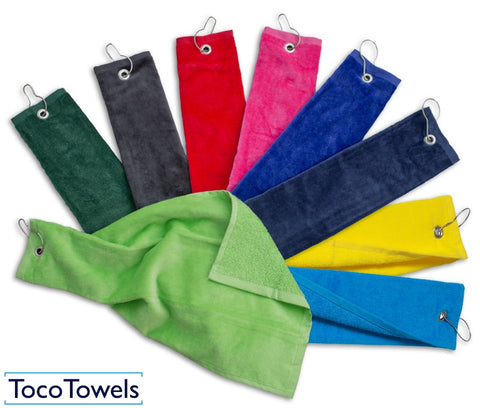Tocotowels wholesale Tri-Fold Golf Towels in bulk