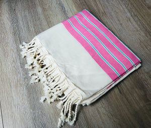 Pink and Blue Color Deluxe 100% Cotton Turkish Peshtemal Beach Towels