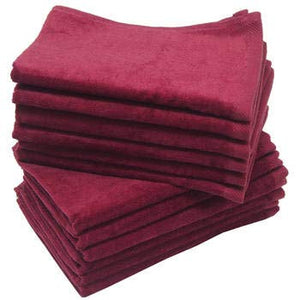 3 Eco-Pack Maroon Fingertip Sports Golf Towels, Small Hand Towels
