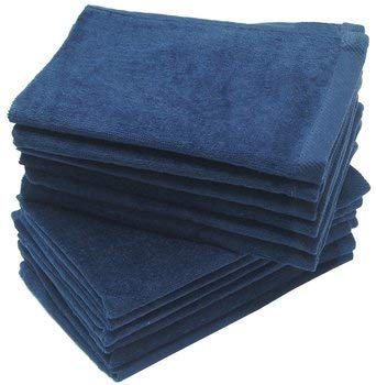 wholesale Navy Blue Color Velour Fingertip Towels (Hemmed Ends) bulk