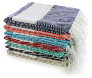 Deluxe 4 Pack 100% Cotton Turkish Peshtemal Towels ( Random Colors )