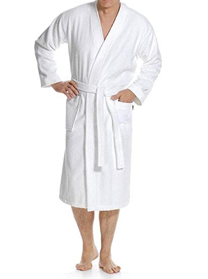 wholesale 100% Cotton Terry Kimono Robe in bulk, White Color