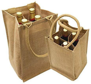 wholesale bulk Burlap Jute Wine Totes With Dividers, (4 Bottles)