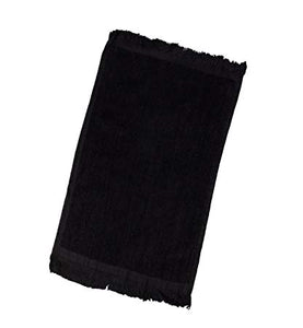 "12 Pack Black Color Velour Fingertip Guest Towels in Bulk, 11"" x 18""  (with Fringe)"