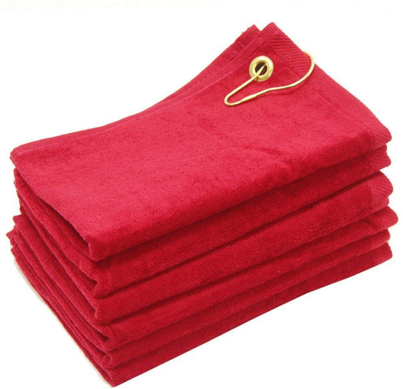 wholesale Red Velour Fingertip Golf Towels with Corner Grommet & Hook bulk
