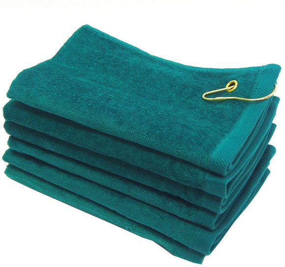 wholesale Green Velour Fingertip Golf Towels with Corner Grommet & Hook bulk